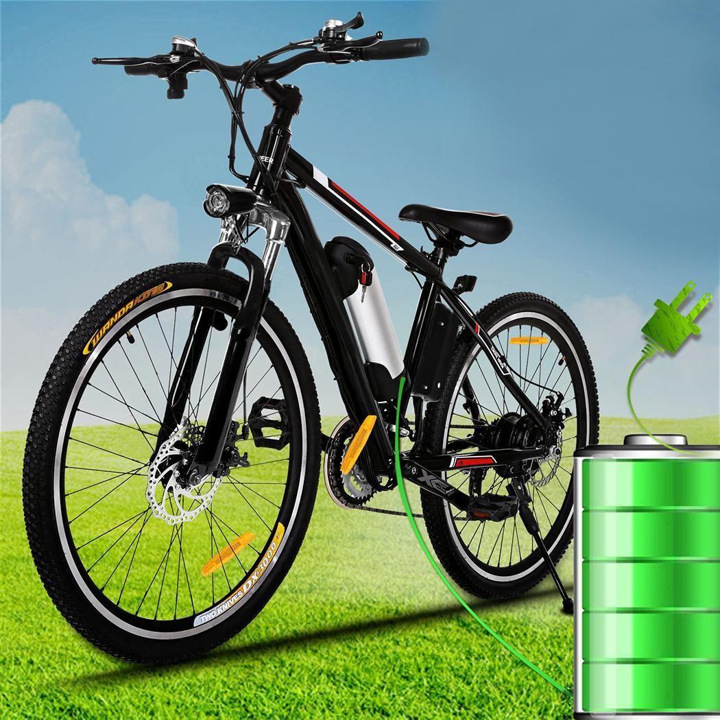 ANCHEER 26 zoll Mountainbike Elektrische Bikes Disc Bremse Aluminium Legierung Rahmen Road Fahrrad Radfahren Schwarz Mechanische Bremsen