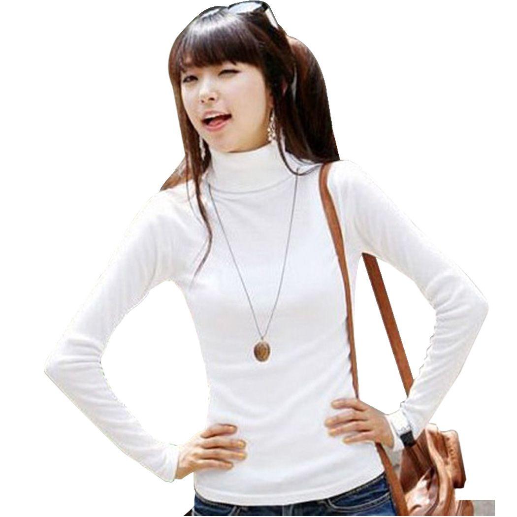 Las mujeres de Cuello Alto Suéter Vodolazka Christmas Sweater Pullover Suéteres de Punto Sólido de la Camisa Básica de Manga Larga Que Basa La Camisa