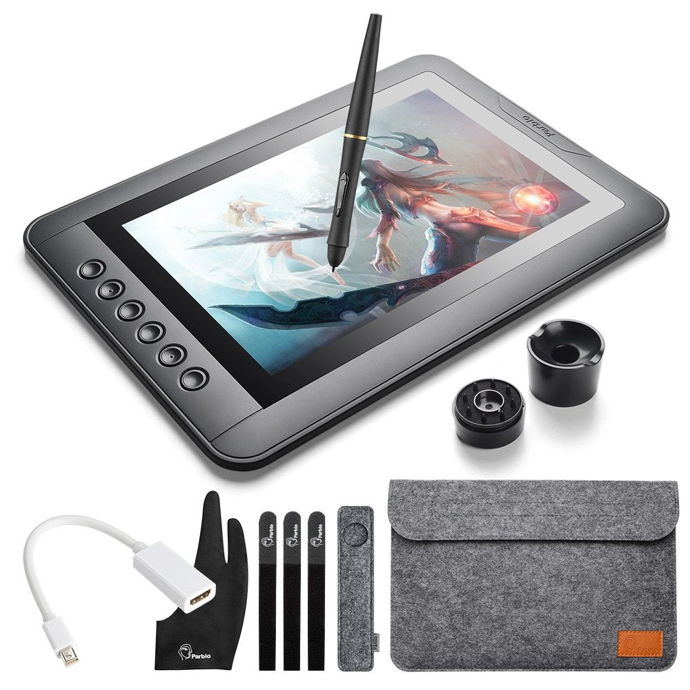 Parblo Mast10 10.1 inches Graphic Monitor with Shortcut Keys and Batteryless Pen Passive Stylus +Mini DP to HDMI Adapter for Mac