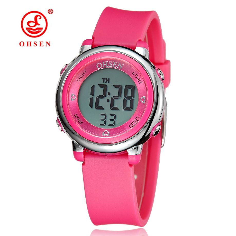 Original OHSEN montre numérique enfants montres enfant garçons bracelet en caoutchouc 50M plongée sport montres électroniques étudiants réveils
