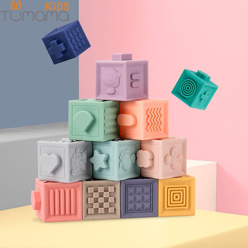 Tumama 12 pièces/ensemble bébé saisir jouet blocs de construction 3D toucher main balles souples bébé Massage caoutchouc jouets de dentition presser jouet balle de bain jouets