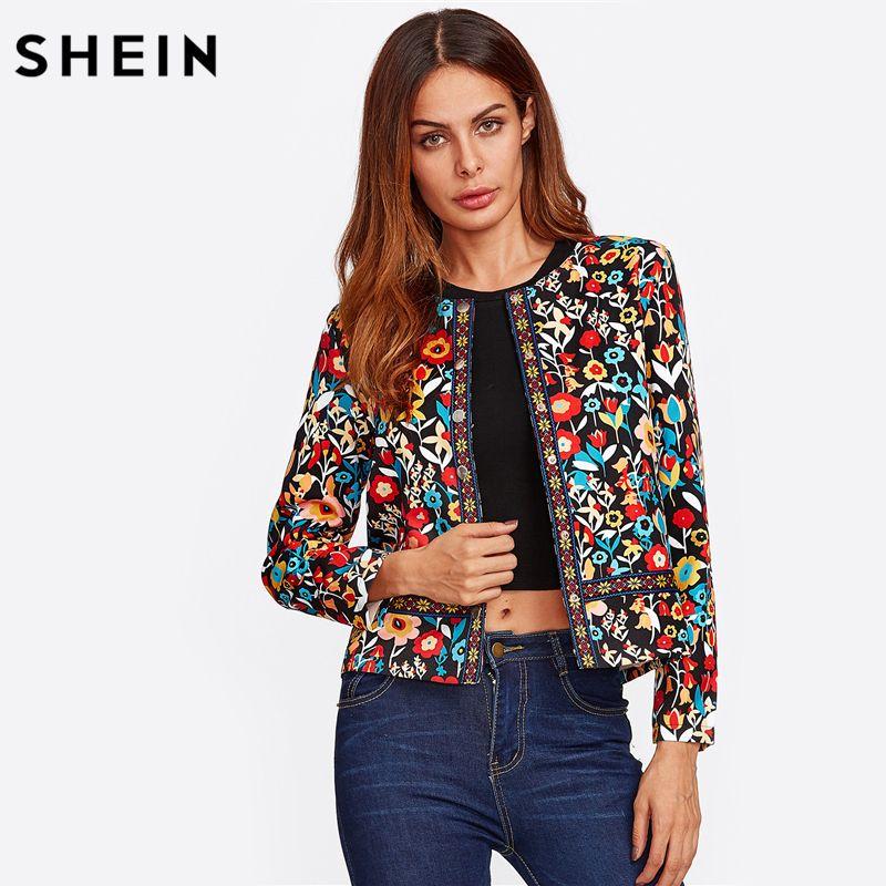SHEIN Press Button Placket Botanical Jacket Autumn Jacket for Women Multicolor Collarless <font><b>Single</b></font> Breasted Elegant Jacket