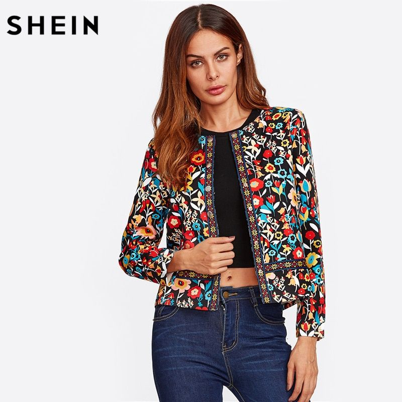 SHEIN Press <font><b>Button</b></font> Placket Botanical Jacket Autumn Jacket for Women Multicolor Collarless Single Breasted Elegant Jacket