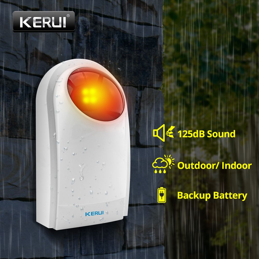 KERUI J008 433mhz 125dB Outdoor Wireless Flashing Siren Strobe Light Siren For KERUI Alarm Security System
