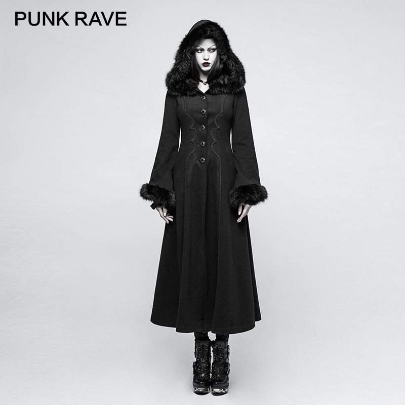 PUNK RAVE 2017 New Designs Gothic Winter Coat Women Black Disc Flowers Long Worsted Hood Female Coats Embroidery Raincoat Autumn