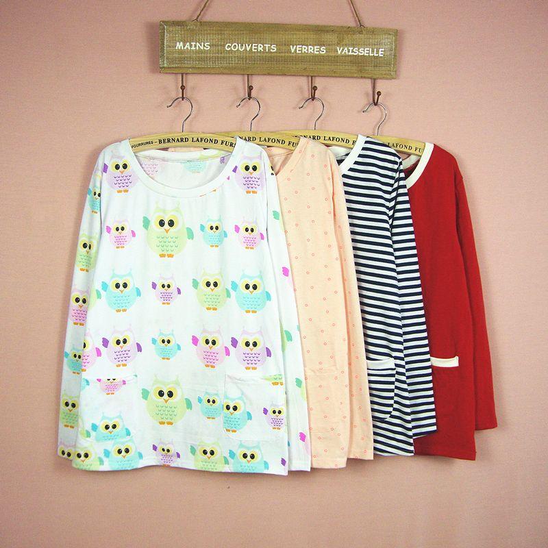 Пижамы женские A109 футболка с длинным рукавом, сезон весна-осень пижамы хлопок