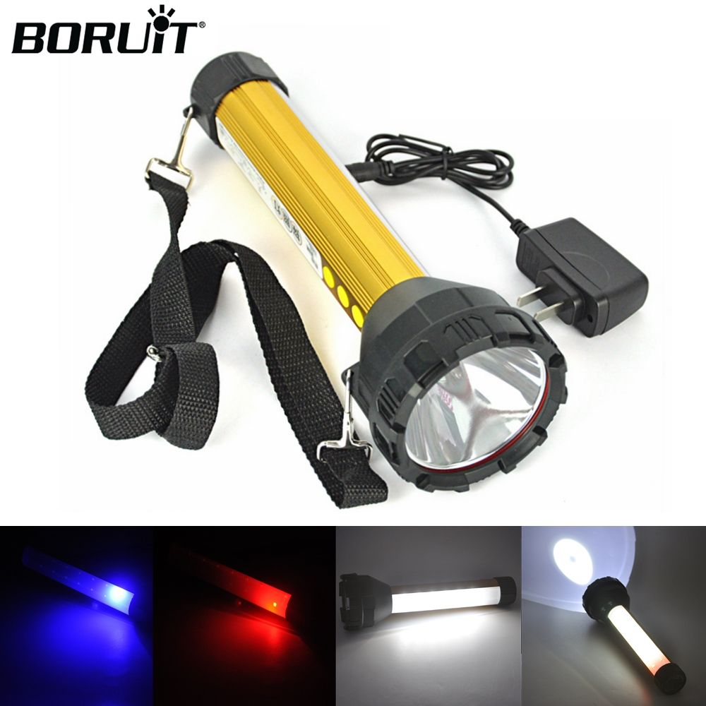 BORUiT 15 LED Flashlight 2000LM Rechargeable Torch Searchlight Hunting Floodlight Outdoor Camping Lantern Built in 18650 Battery