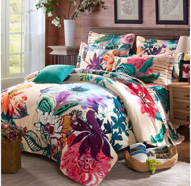 100% Cotton Sanding Printed Flower Bedding Set Wedding Bed Sheet set Duvet Cover Pillowcase Queen King 4pcs colorful purple red