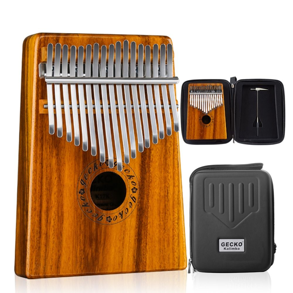 GECKO Kalimba 17 Keys Acacia(KOA) Thumb Piano and EVA High Performance Protection Box, Tuning Hammer, Professional models K17K