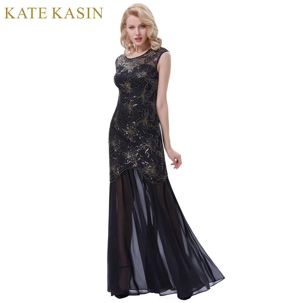 Kate Kasin Longue Noir Robes De Bal pour la Fête De Mariage Paillettes Appliques Robes De Bal 2017 Femmes Cap Manches Occasion Spéciale Robes