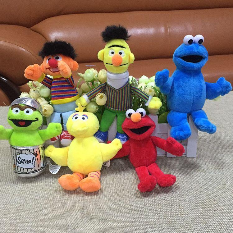 6pcs/set Sesame Street Elmo Big Bird Erine Bert Cookie Monster Stuffed Plush Dolls Toys Pendant Keychain bag hanging toys