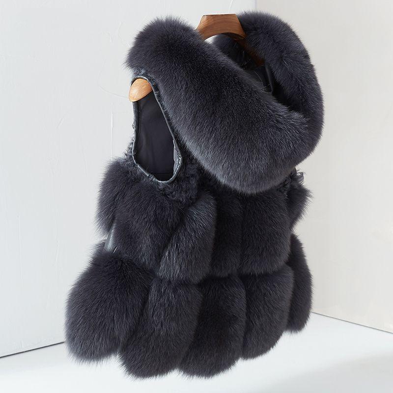 Frauen Echt Fox Pelz Weste Hoodie Jacke Dicke Natürliche pelzmantel Weibliche Weste Gilet Winter Echten Fuchs Pelz Weste mit Pelz Haube