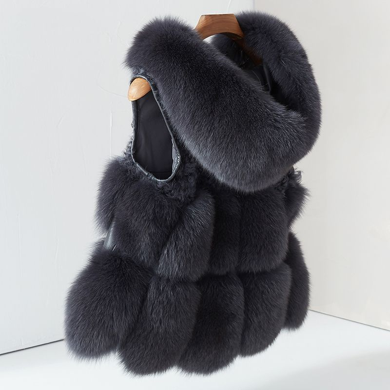 Women's Real Fox Fur Vest Hoodie Jacket Thick Natural Fur coat Female Waistcoat Gilet Winter Genuine Fox Fur Vest With Fur Hood