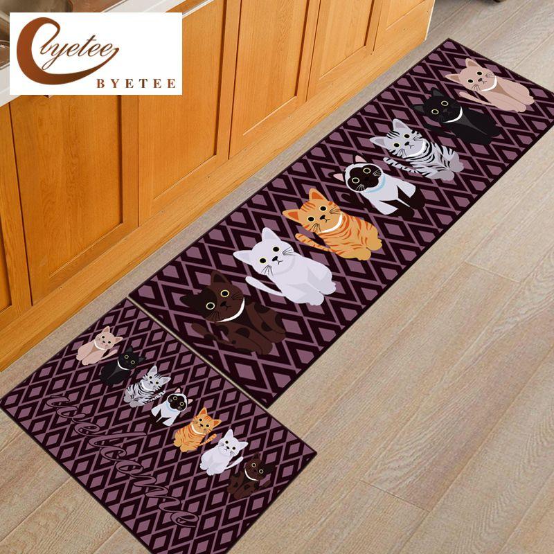 [byetee] Long Slip Floor Mat Door Mat Rugs Mats For Kitchen Bathroom Toilet Foot Mat Bedroom Rug Tapete Carpet cats Doormat