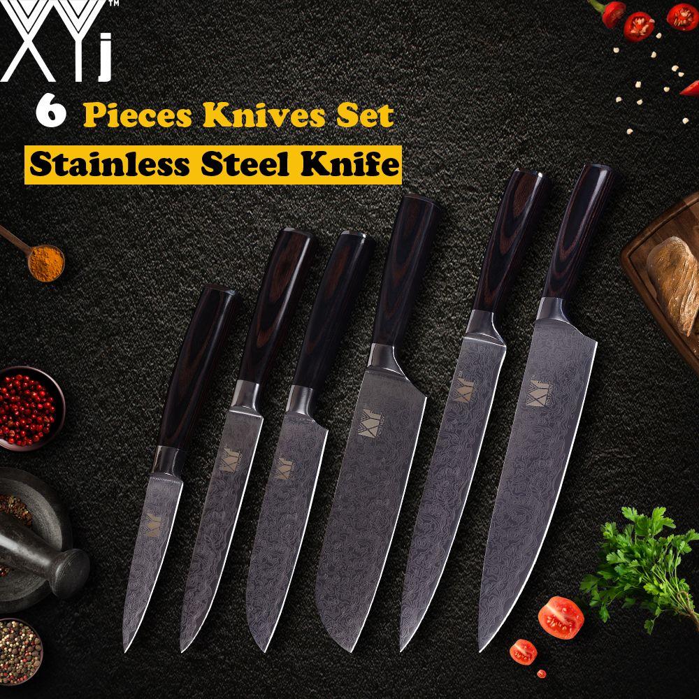 XYj Küchenmesser Edelstahl Messer 3,5, 5, 5, 7, 8, 8 zoll Exquisite Farbe Holzgriff Obst Gemüse Fleisch Kochen Werkzeuge