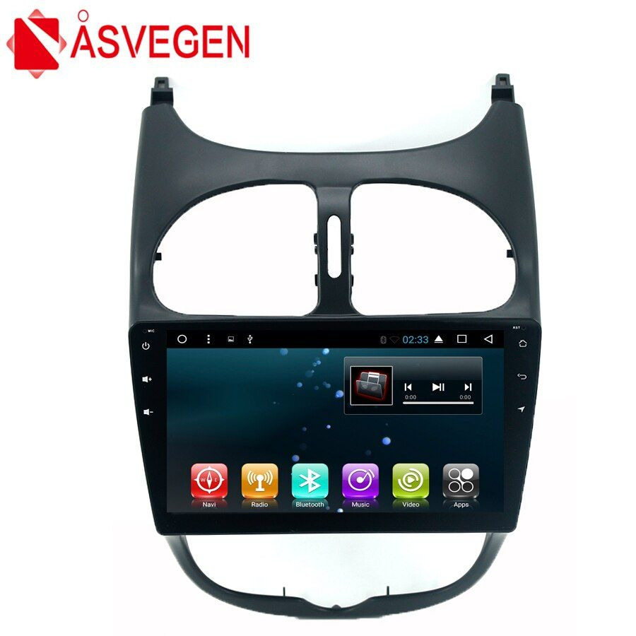 Asvegen Car Stereo Radio DVD Player For Peugeot 206 Android 7.1 Quad Core 9'' Audio Bluetooth Wifi Multimedia GPS Navigation Mic