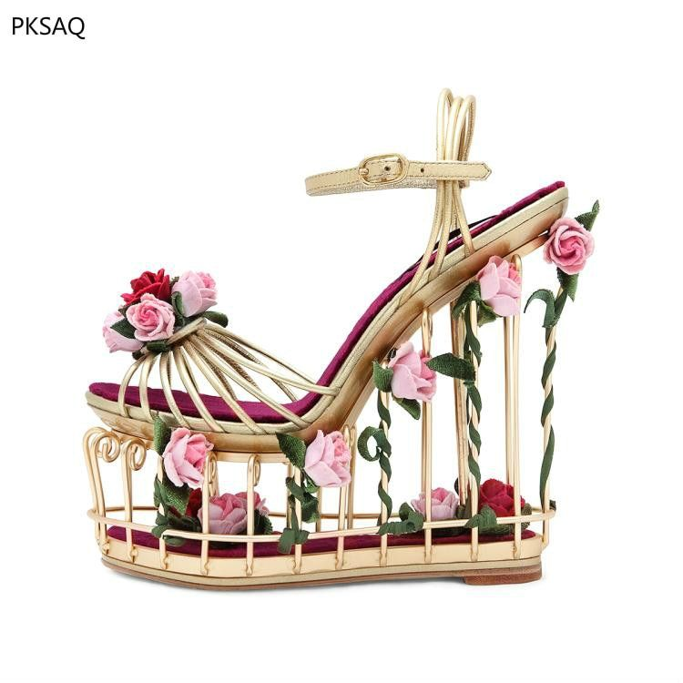 Lady Super High Heel Shoes Birds Cages Women Sandals Flowers Golden Wedding Party Nightclub Wedges Waterproof Sweet Shoes