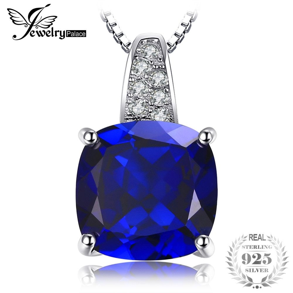 JewelryPalace Cushion 4.9ct Blue Created Sapphire Solitaire Pendant Necklace 925 Sterling Silver 45cm Box Chain Fine Jewelry