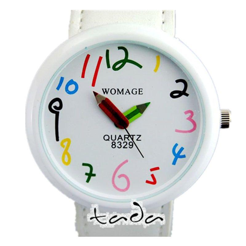 Haute qualité dessin animé crayon main couleur numéro drôle montre en cuir bande de mode femme crayon pointeur femmes Quartz montre-bracelet