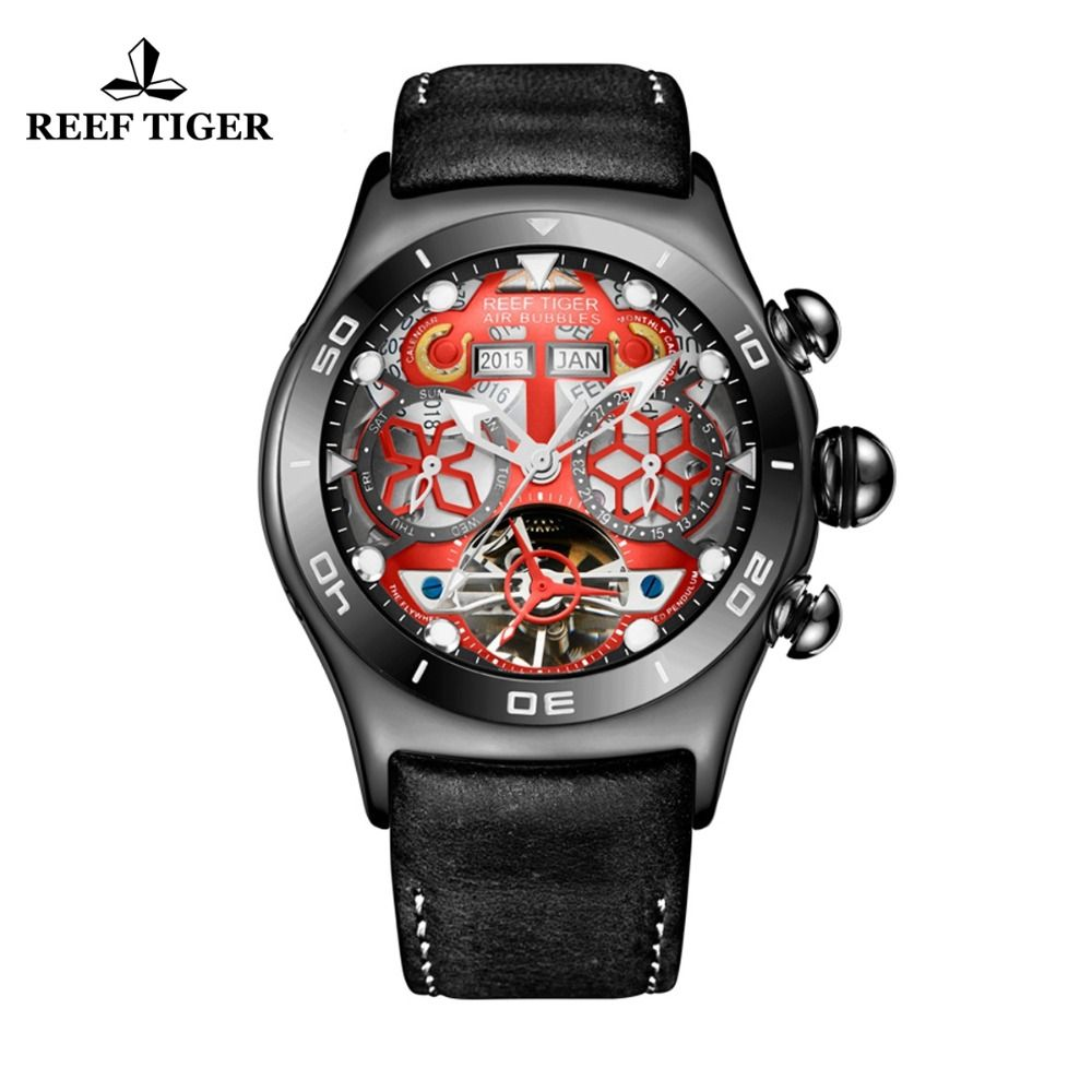 Reef Tiger/RT Mens Sport Watches Skeleton Dial and Hands Year Month Date Day Watch Luminous Black Steel Automatic Watch RGA703