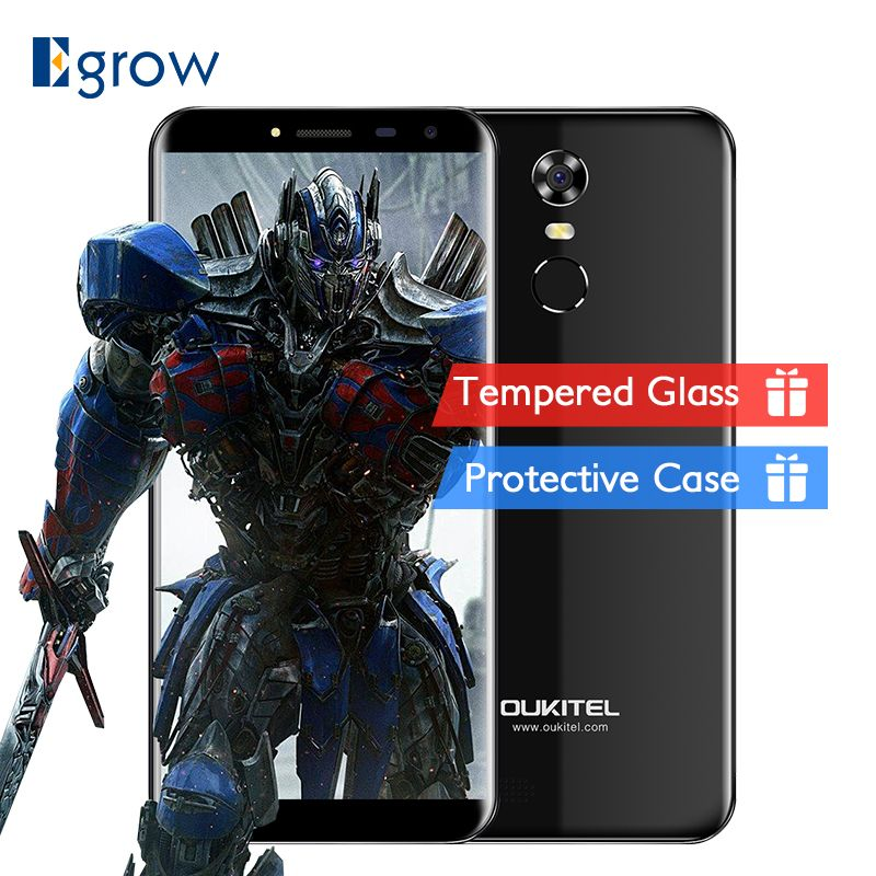 Oukitel C8 Mobile Phone 5.5 Inch 18:9 HD Screen phone Quad Core 2GB RAM 16GB ROM <font><b>13MP</b></font> Android 7.0 3000mAh Touch ID Smartphone