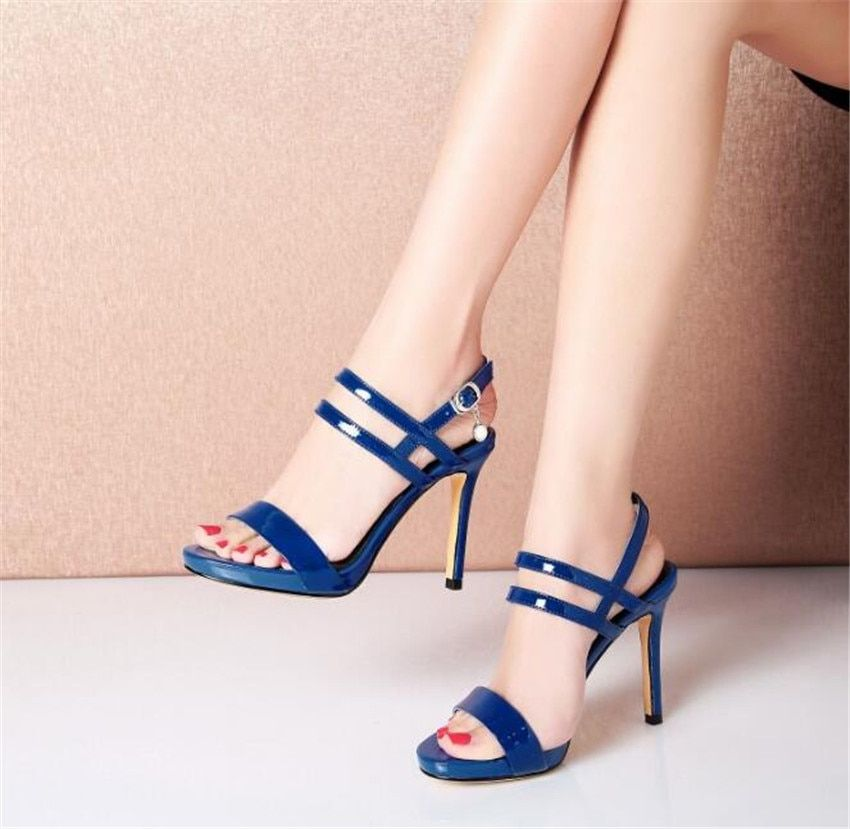 MLCRIYG 2018 new summer ladies' sandals thin and high heel waterproof table leather women's shoes
