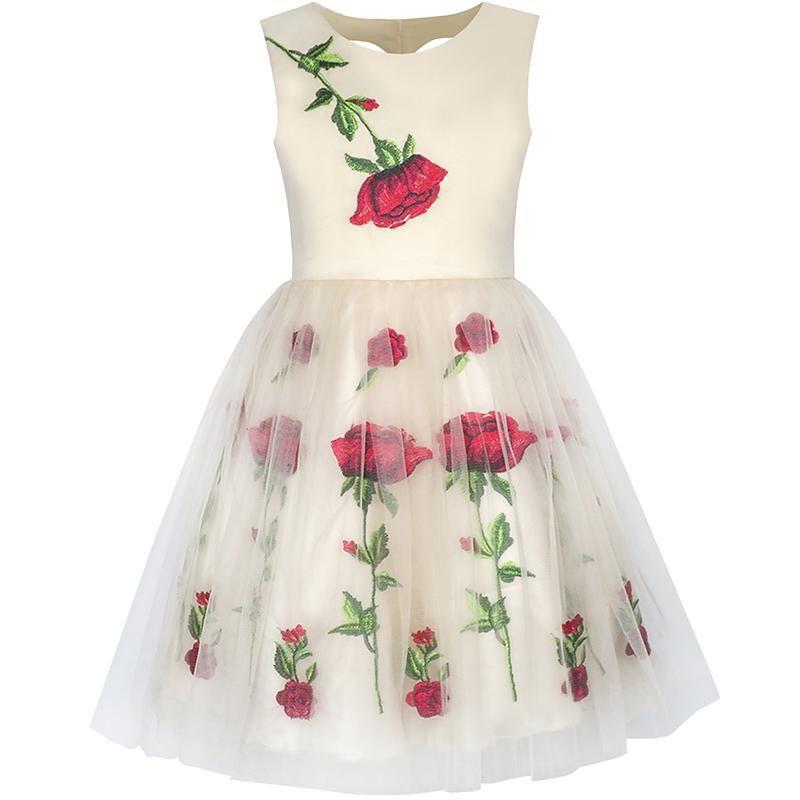 Kids Girls Dress Champagne Rose Flower Embroidery Heart Shape Back Girl Summer Princess Wedding Party Dresses Girls Clothes 7-14