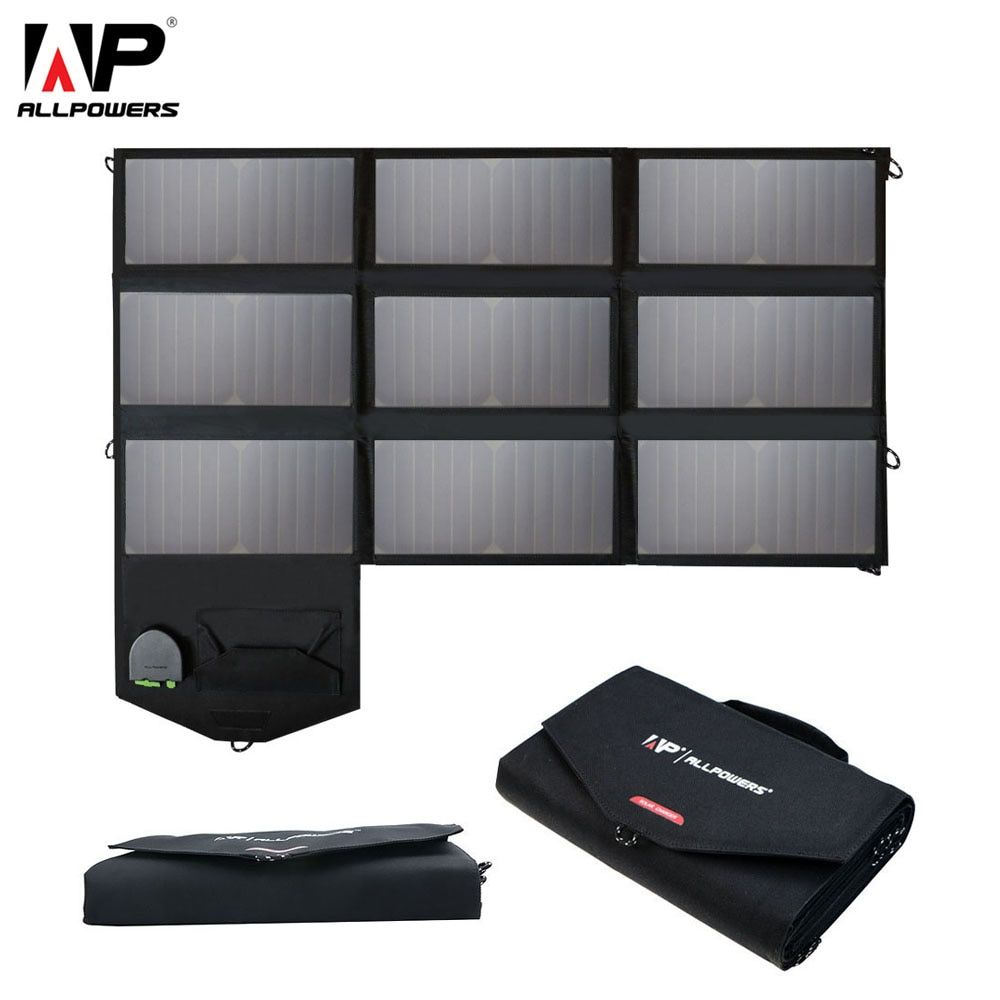 ALLPOWERS 60W Phone Charger 5V 12V 18V Portable Foldable Solar Panel Charger Pack for iPhone 6 7 8 Laptops Tablets Smartphones