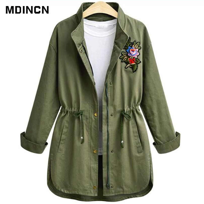 High quality Slim women jacket solid color long-sleeved large flower decals flower drawer was thin casual jacket LR3