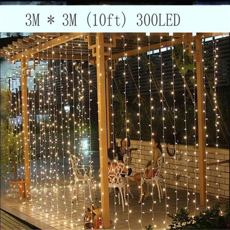 3M x 3M 300LED extérieur maison noël décoratif noël chaîne fée rideau bande guirlandes lumières de fête pour les décorations de mariage