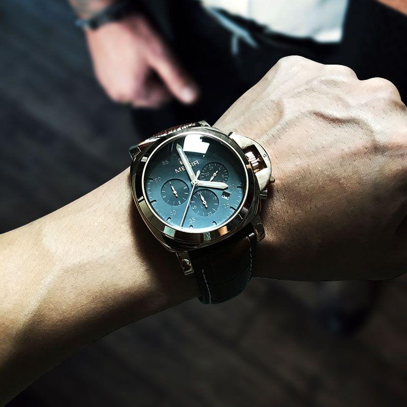 Megir 3006 hommes mode montre à quartz étanche montre-bracelet en cuir véritable bracelet montres homme livraison gratuite