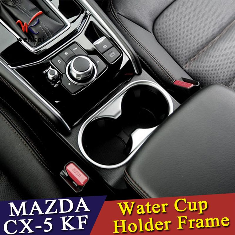 WENKAI For Mazda CX-5 CX5 2017 2018 ABS Water Cup Holder Frame Decoration Cover Trim 1pcs Car Accessories Styling!