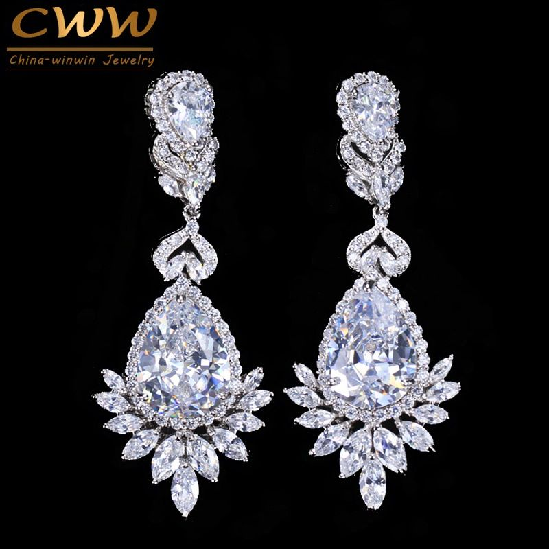 CWWZircons Elegent Evening Dinner Part Wedding Jewelry Luxury Long CZ Crystal Big Drop Dangle Earrings For Brides CZ055