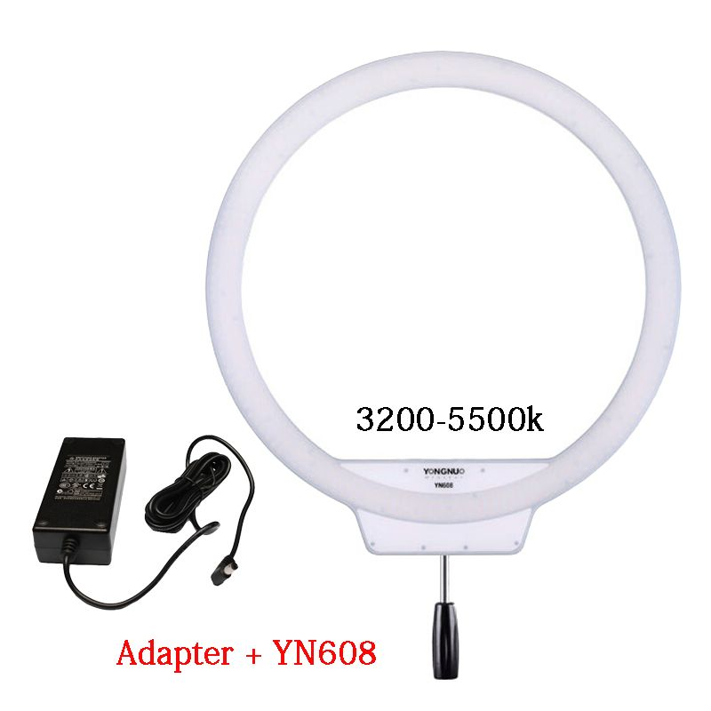 YONGNUO YN608 Annular LED Ring Light 3200K~5500K Bi-Color Temperature Photo Lamp Video Light Wireless Remote with Power Adapter