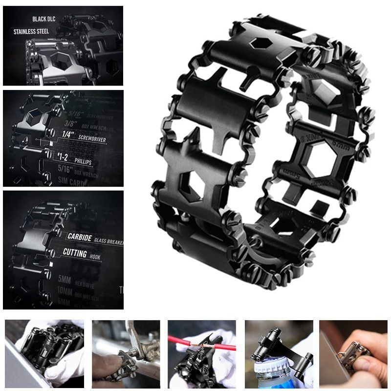 Hottime Punk Style Stainless Steel Outdoor 29 Kinds of Multi-functional Tool Bracelet. Portable Multi Tools for Camping Hiking