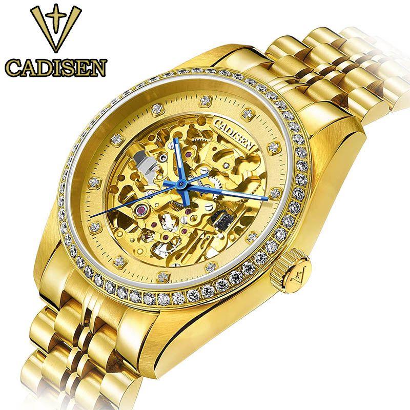 2016 original cadisen hombres mecánicos relojes hombres marca de lujo reloj de acero completo relojes automáticos de negocio a prueba de agua