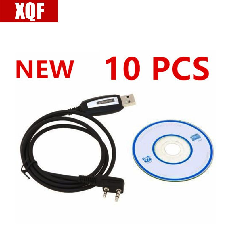 XQF 10 PCS Program Software CD & USB Programming Cable for Baofeng Two way Radio UV-5R BF-888S BF-F8+