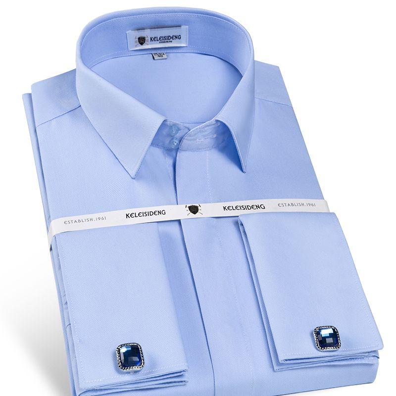 Hommes Non fer Slim Fit français manchette robe chemise à manches longues couvert Placket solide Twill élégant chemises de smoking (boutons de manchette inclus)