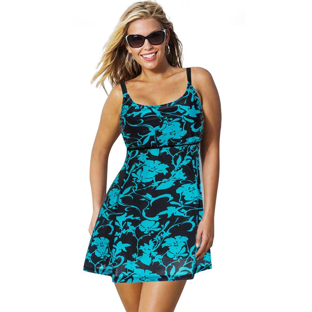 Plus Größe Einteilige Badeanzug Frauen Bademode Push-Up Padded Rock Kleid Badeanzug Große Größe Badeanzug Sommer-strand-anzug