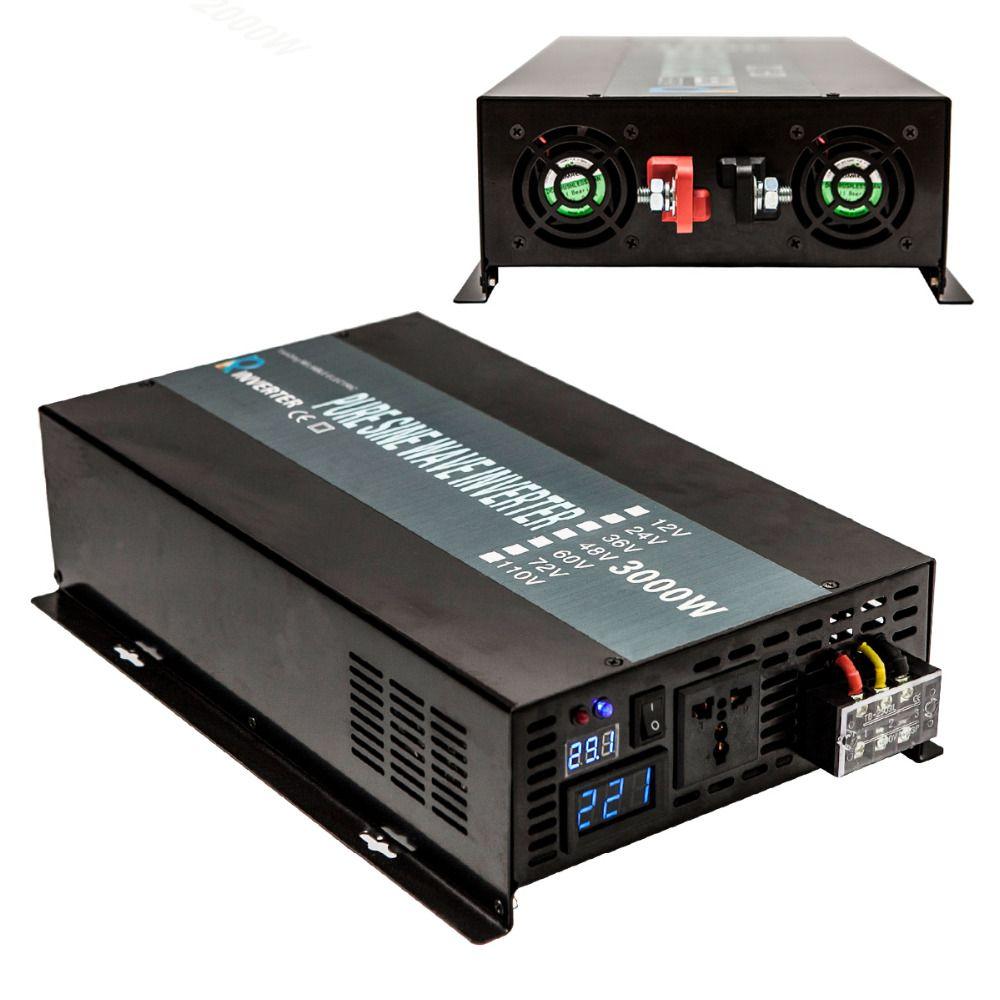 3000W Off Grid Power Inverter 24V to 220V Pure Sine Wave Solar Inverter Solar Panel Generator 12V/36V/48V DC to 120V/230/240V AC