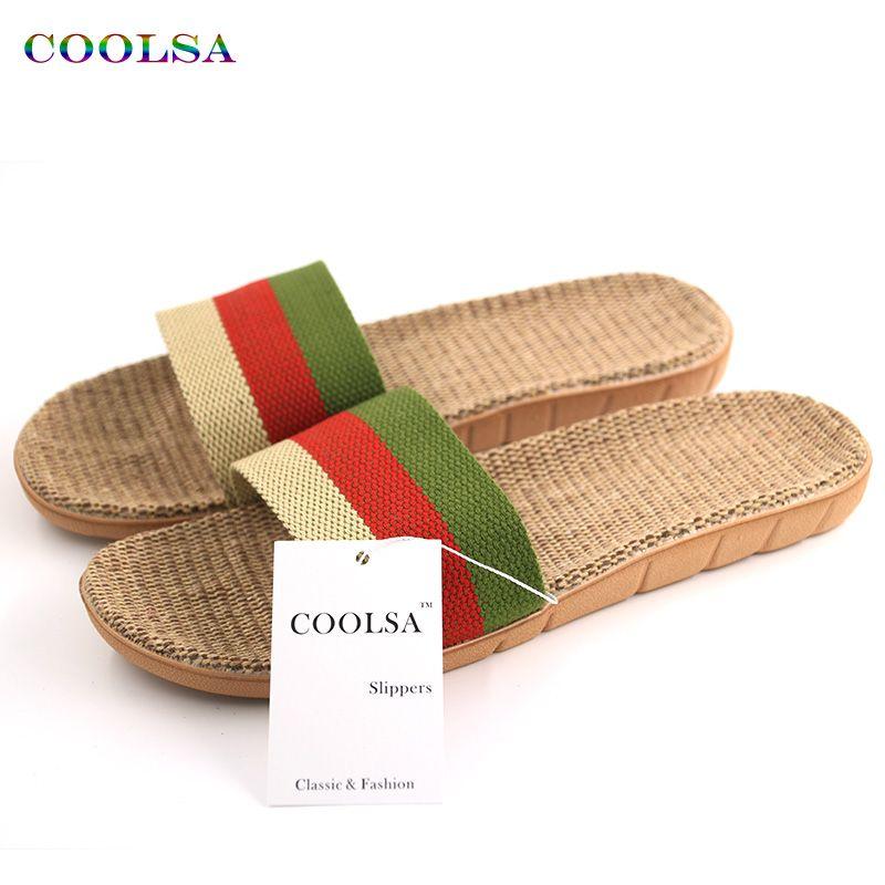 Nuevas llegadas ropa de verano hombres Zapatillas marca plana antideslizante cáñamo raya básica Toboganes hogar Sandalias hombre manera del encanto playa Zapatos