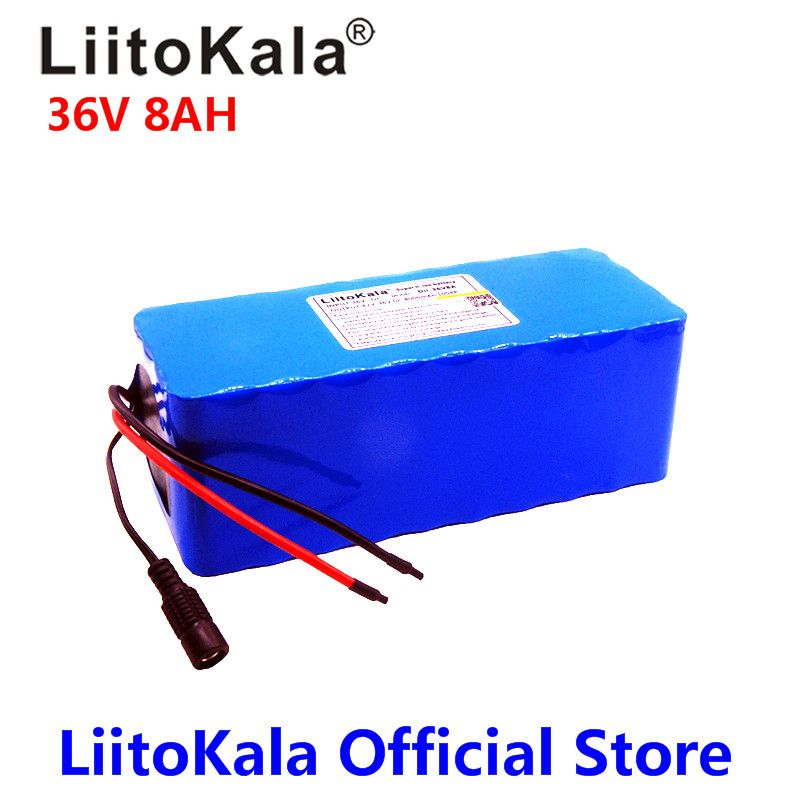 2018 LiitoKala 36V 6ah 8ah 500W 18650 lithium battery 36V 8AH Electric bike battery with PVC case for electric bicycle