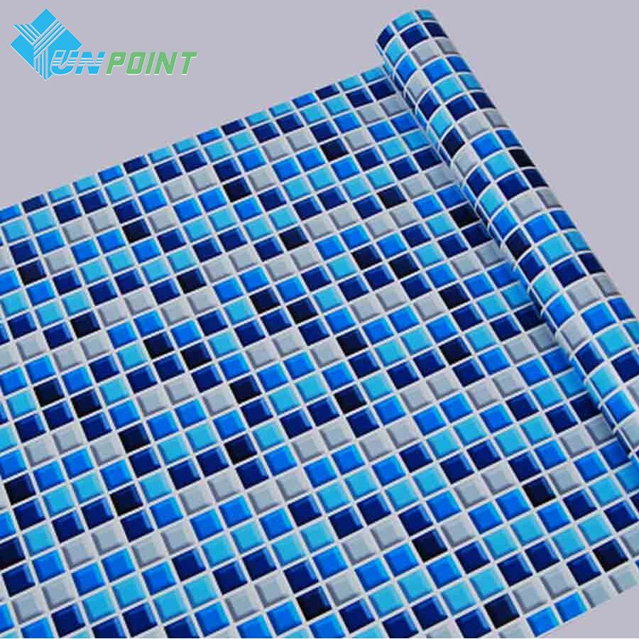 45cmX5m <font><b>Self</b></font> adhesive Mosaic PVC Vinyl Wall Stickers Waterproof Wallpapers for Bathroom Kitchen Poster Wall Decals Home Decor