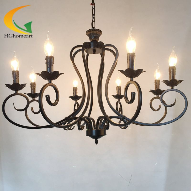 Continental Iron candle chandelier living room lamp bedroom lamp minimalist restaurant Mediterranean retro chandelier