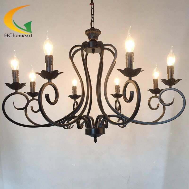 Continental Iron candle chandelier living room lamp bedroom lamp minimalist restaurant Mediterranean retro chandelier