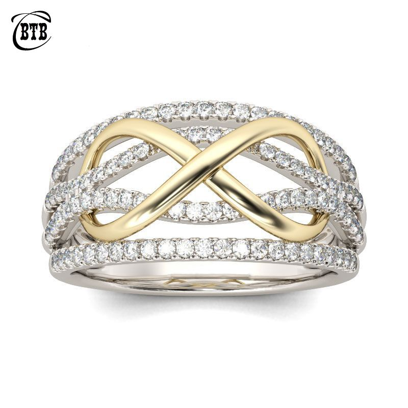 New Design Forever Love Wedding Rings Women Silver Color Copper with AAA Crystal Stones Infinity Endless Charm Finger Jewelry