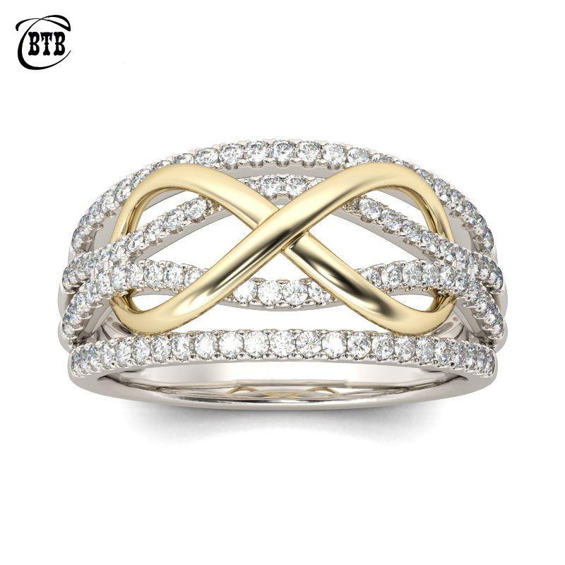 Nouveau Design Forever Love anneaux de mariage femmes couleur argent cuivre avec des pierres de cristal AAA infini sans fin charme bijoux de doigt
