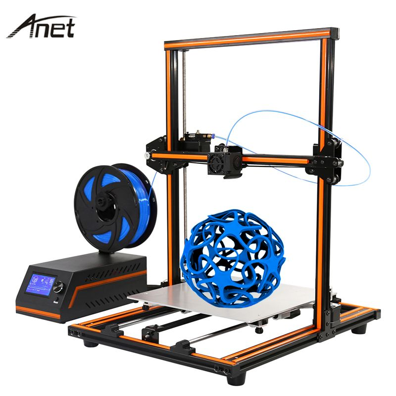 New Anet E10 E12 Easy Assemble Impresora 3D Printer DIY Kit Full Aluminum Imprimante 3D Large Size Reprap i3 With 10m Filament