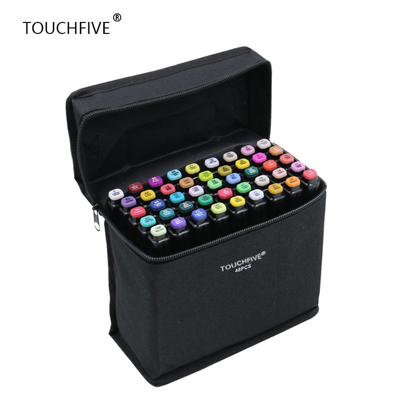 TouchFIVE 30/40/60/80/168 Color Art Markers Set Dual <font><b>Headed</b></font> Artist Sketch Oily Alcohol based markers For Animation Manga