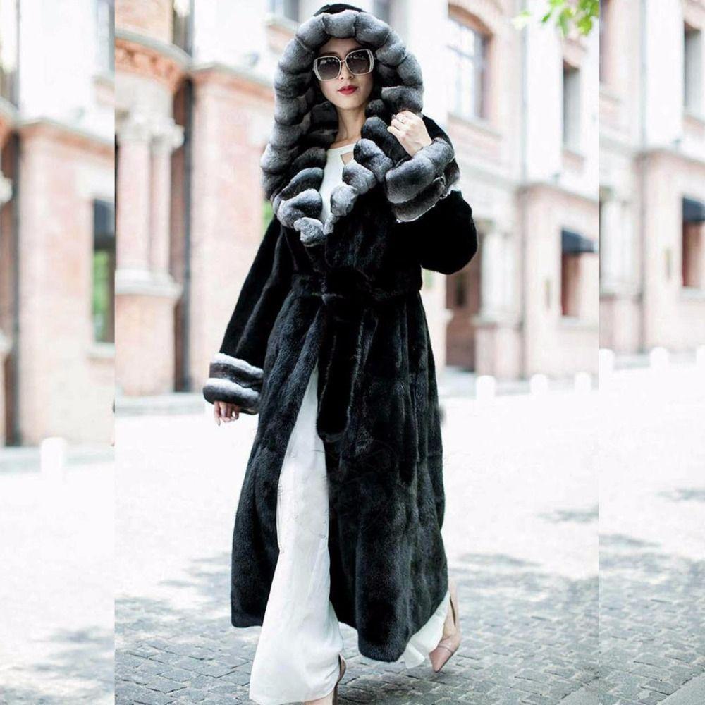 Real natural fur rex rabbit fur coat women Long 120cm Long fur coat